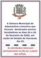 Ponto Facultativo Câmara Municipal de Adamantina